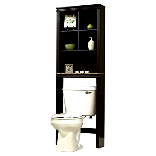 Cinnamon Cherry Stand Over The Toilet Storage Top Adaptable Shelves Durable Back Cover Louver Tall Height & eBook by Easy&FunDeals by EFD
