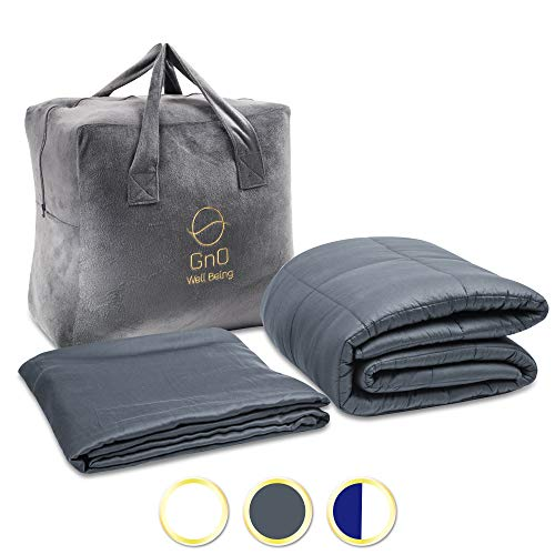 GnO Weighted Blanket Adult & Cool Bamboo Duvet Cover | 15 Lbs |60''x80''| 100% Breathable Organic Cotton (400TC) & Premium Micro Glass Beads | Fit Queen Size Bed | Dark Gray