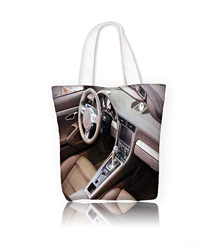 Canvas Tote Handbag Dark luxury car Interior steering wheel shift lever and dashboard Men And Women Shopping Tote W11xH11xD3 - Diaper Dash Messenger Bag