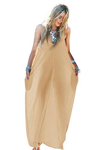 Pocket Maxi Casual Boho Long Apricot Strappy Chiffon Women's MIXMAX Loose Dress ZAqxfw