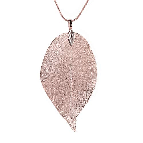 Bravetoshop Women Special Leaves Leaf Sweater Pendant Necklace Ladies Long Chain Jewelry(Rose Gold,Free Size)