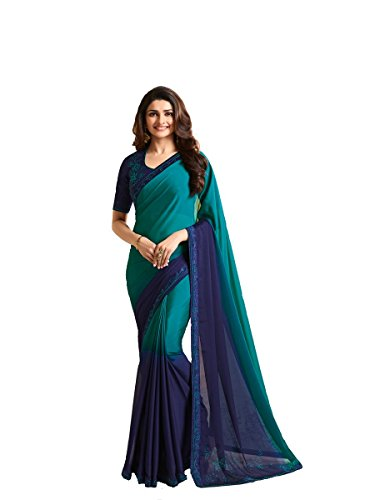 Indian Sari Fashion New Collection Designer Ethnic Simple Look Saree Starwaik 33 (Sky Blue)