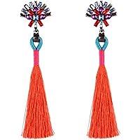 Misaky Vintage Style Rhinestones Crystal Tassel Dangle Stud Earrings Gifts (Red)