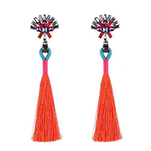 Misaky Vintage Style Rhinestones Crystal Tassel Dangle Stud Earrings Gifts  Red