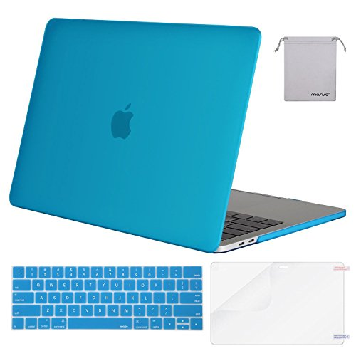 MOSISO MacBook Pro 13 Case 2018 2017 2016 Release A1989/A1706/A1708, Plastic Hard Shell & Keyboard Cover & Screen Protector & Storage Bag Compatible Newest Mac Pro 13 Inch, Aqua Blue