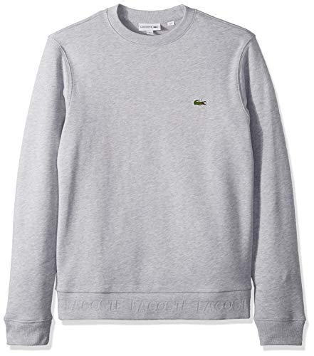 Lacoste Men's Long Sleeve Sweatshirt With Lacoste Print, French Terry, Silver Chine, Large