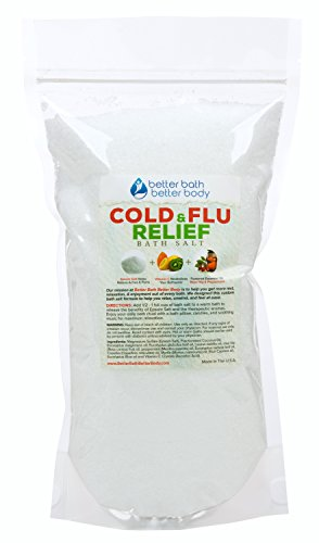 Cold & Flu Bath Salt 2 Pounds Size - Epsom Salt Bath Soak With Rose Hip & Peppermint Essential Oil & Vitamin C - All Natural No Perfumes No Dyes - Natural Relief From Common Cold & Flu Symptoms (Peppermint Bath Salts compare prices)