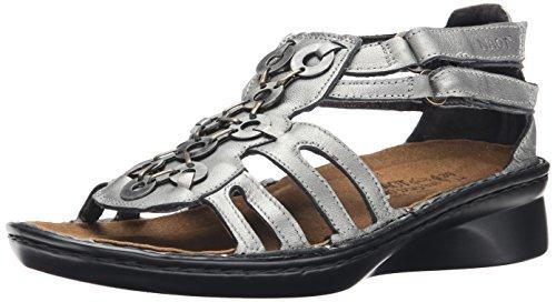 Naot Women's Trovador Wedge Sandal, Sterling Leather, 40 EU/8.5-9 M US