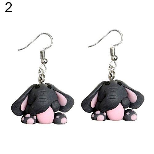preliked Women Fashion Polymer Clay Cute Elephant Animal Drop Dangle Earring Jewelry Gift (2#) (Elephant Clay)