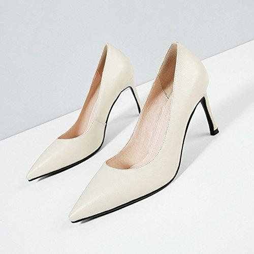 Sharp Sandalias Trabajo Tacon de tacon Sexy Treinta Transpirable fino cabeza Moda ocho de White Solo elegante zapatos los mujer Zapatos zapatos AJUNR y 8cm 38 alto tq06wz7w