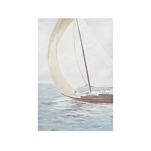 - Madison Park Sail Away Hand Embellished Blue Canvas Wall Art 24X36, Novelty Coastal Painted Wall Décor