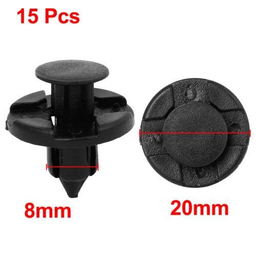 15 pcs plastique rivet boue Flaps pare-chocs Fender Push clips 8mm pour Nissan