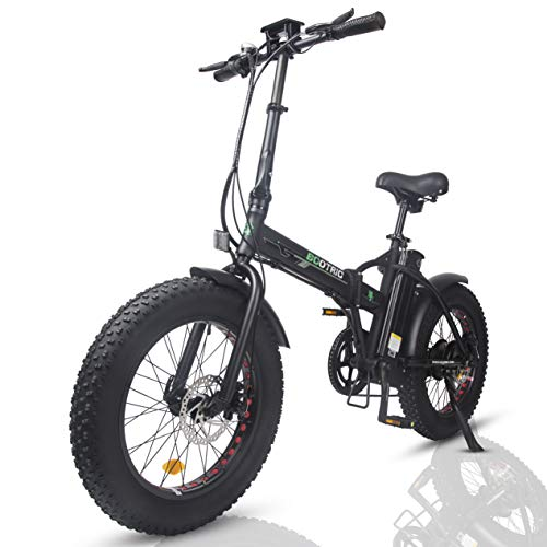 "ECOTRIC Electric Foldable Bike Beach Snow Bicycle 20"" 4.0 inch Fat Tire Aluminum Frame Ebike 500W 48V/13AH Electric Mountain Bicycle (Black)"