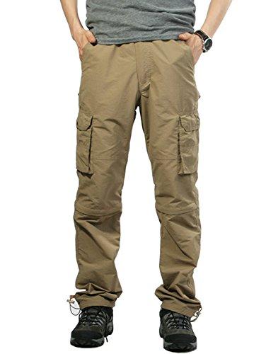 MAGE MALE Men's Outdoor Quick Dry Convertible Lightweight Hiking Fishing Zip Off Cargo Pants/Shorts Khaki XS