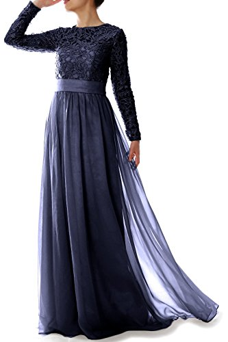 MACloth Women Long Sleeve Lace Chiffon Mother of Bride Dress Formal Evening Gown (16w, Dark Navy)