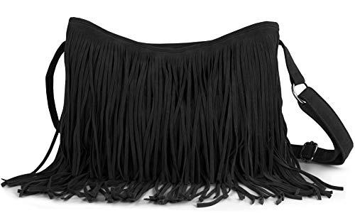Hoxis Tassel Faux Suede Leather Hobo Cross Body Shoulder Bag Womens Sling Bag New Upgrade - Handbag Fringed Black