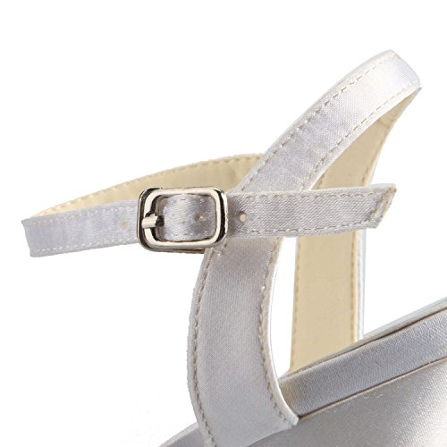 Mid Jia 1419 Toe Sandali Bianco Heel Satinati Open Donna Scarpe Strass Sposa Da FTwnq0arF