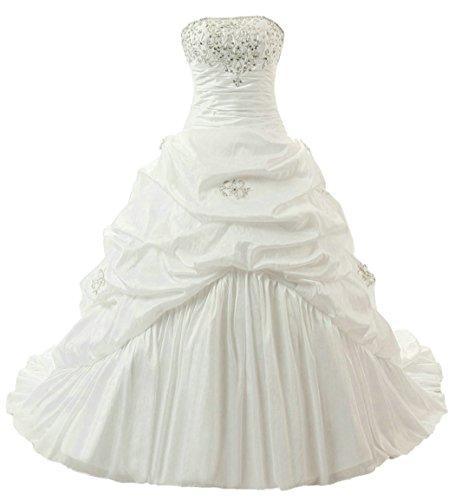 Taffeta Gown White Wedding - RohmBridal Women's Strapless Taffeta A-line Wedding Dress Bridal Gown Ivory 18