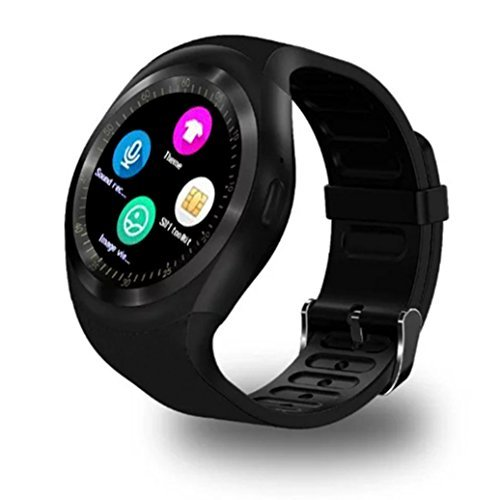 BEAFUP Bluetooth SmartWatch, Smart watch Touch Screen Bluetooth WristWatch /SIM Card Slot/Sleep Monitoring for Android IOS (Partial Functions) (Black)