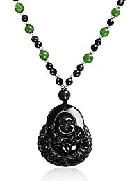 Amazon gemstones jade jewelry men clothing shoes jewelry laughing buddha obsidian pendant sythetic jade bead necklace 26 inches aloadofball Image collections