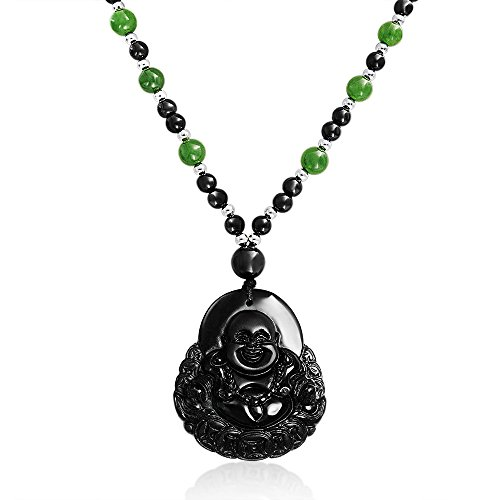 Green Black Bead Carved Long Large Laughing Obsidian Boho Fashion Statement Buddha Pendant Necklace for Women for Men