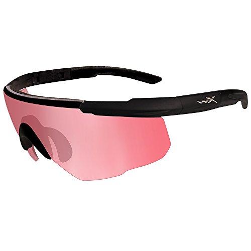 Wiley X Saber Advanced Glasses Vermillion Lens Matte Black Frame Changeable Matte Black Frame