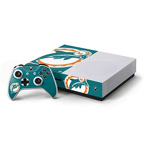 Skinit NFL Miami Dolphins Xbox One S Console and Controller Bundle Skin - Miami Dolphins Retro Logo Design - Ultra Thin, Lightweight Vinyl Decal Protection
