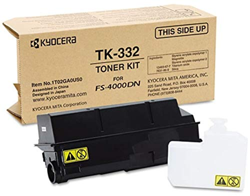 (Kyocera 1T02GA0US0 Model TK-332 Black Toner Kit for use ECOSYS FS-4000DN Monochrome Workgroup Laser Printer, Up to 20000 Pages Yield at 5% Average Coverage, Includes Waste Toner Container)