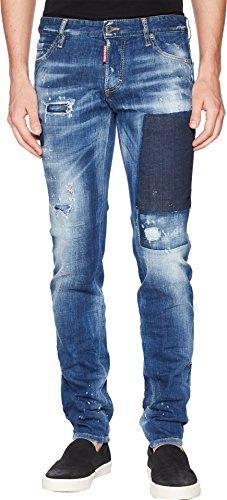 Dsquared2 Men Pants - DSQUARED2 Men's Patch Wash Slim Jeans Blue 50