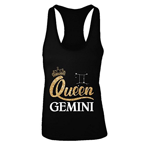 TeesNow Women's Queen Gemini Zodiac May June Birthday Gift Shirt Tri-Blend Racerback Tank (Vintage Black, L)
