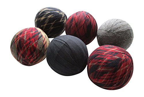 From The Attic Crafts Rag Balls - Primitive Fabric Rag Balls Red, Black, Grey and Light Khaki Bowl Fillers 2.5