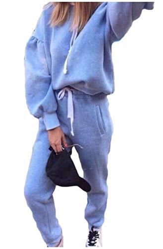 Winwinus Womens Vogue Sweatshirt Long Pant Two-Piece Hooded Suit Tracksuits Light Blue M