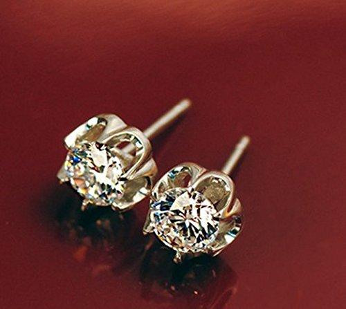 Gowe Certifié 1.60carat/Paire rond brillant Cut authentique en or blanc 18carats 585Charles Boucles d'oreilles Cadeau de fête pour femme