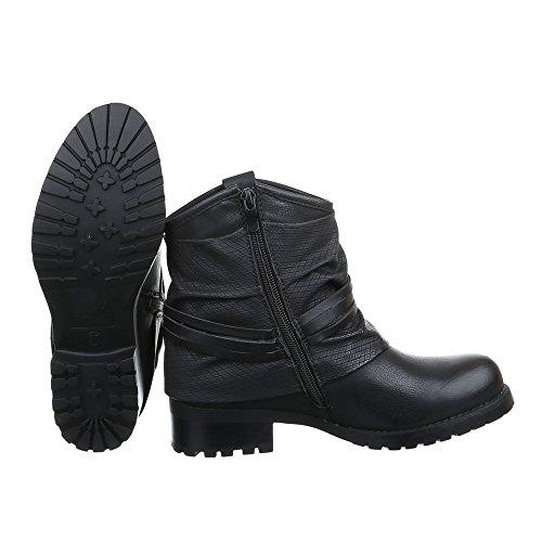 Ital-Design Damen Schuhe Blockabsatz Biker Boots Reißverschluss Boots/Bikerboots Stiefeletten Blockabsatz Schwarz JA3072