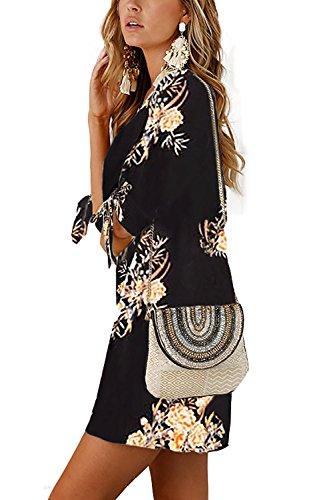 Boheme 4 Noeud Haut Chemise Rond a Hippie Tunique 3 Chic D Fleurie Casuel Col Manche Ete Mode Blouse Femme Robe Top Moulante wUqxvAaI6n