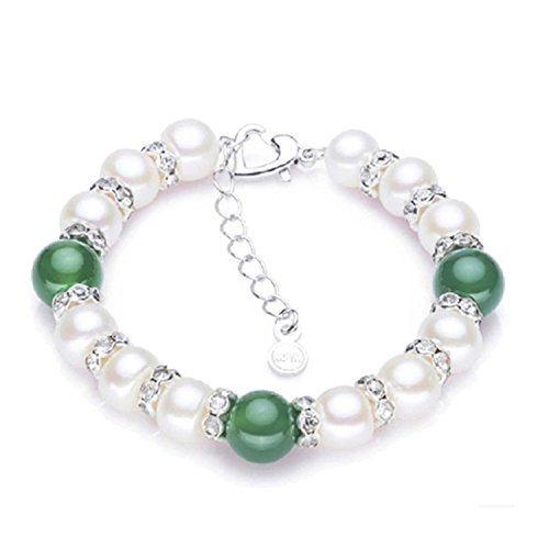 SuperLouisa Fashion pearl bracelet green agate charm bracelet platinum plated clasp jewelry - Tiffany Jewelry Australia