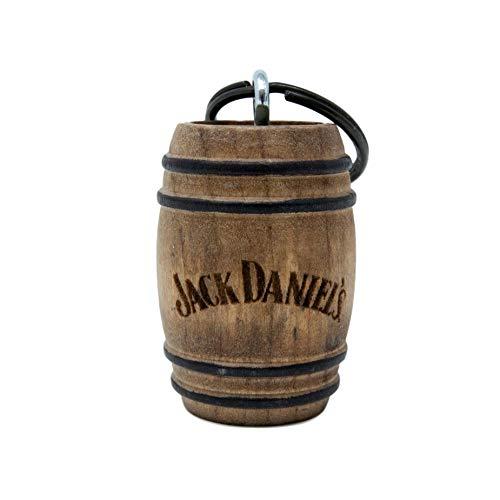 Jack Daniel's Mini Barrel Keychain - Made in USA from Authentic Jack Daniel's Whiskey Barrels - Traditional Jack Daniel's Logo - 1.5 x 1 x 1 inches (Bottles Of Jack Daniels In A Barrel)
