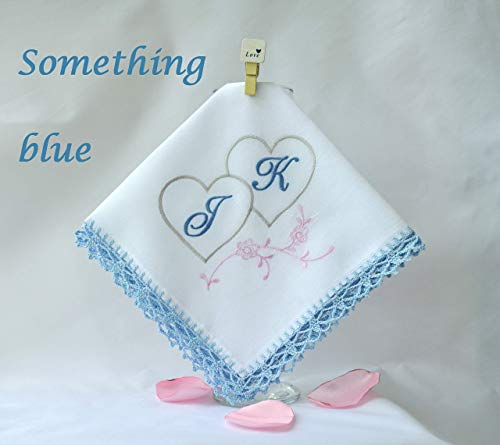 Personalized monogrammed handkerchief for her something blue hankerchief for couple handmade monogram gift ideas crochet lace wedding -