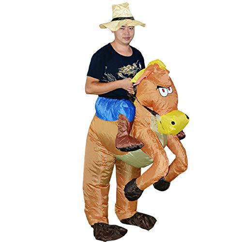 (MH ZONE Inflatable Horse Costumes for Adult, Adult Halloween Costumes Inflatable Horse Rider Suit Halloween Cosplay Funny Costume(Two Types of Inflatable Costume)