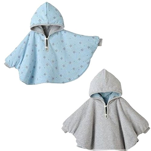 Tailloday Baby Kids Toddler Double-side Wear Hooded Cape Cloak Poncho Hoodie Coat (1-3 Years, Grey) (Poncho Baby Girl)