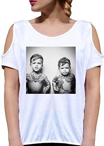 T SHIRT JODE GIRL GGG27 Z1338 BABY BOYS TATTOS BAD GUY CHILD KIDS FUNNY FASHION COOL BIANCA - WHITE M