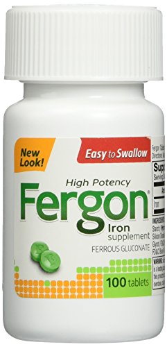 Fergon High Potency Iron Supplement Tablets, 100 Count (Fergon Iron Supplement compare prices)
