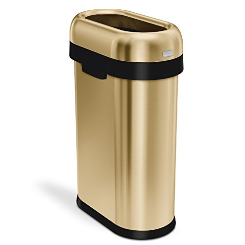 / 13.2 Gallon Slim Open Top Trash Can, Commercial Grade, Heavy Gauge Brass Stainless Steel ()