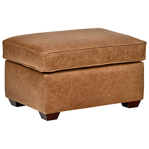 Rivet Andrews Modern Classic Top-Grain Leather Ottoman, 29.5