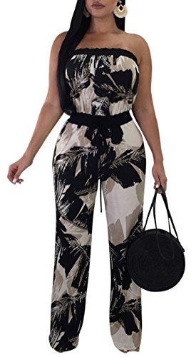 Women Sexy Off Shoulder Strapless Floral Wide Leg Jumpsuit Romper Flare Palazzo Long Pants Set Black (Leaf Print Pant Set)