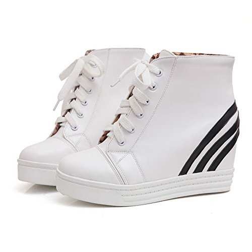 AgooLar Women's High-Heels Assorted Color Round Closed Toe Soft Material Lace-up Boots White Dp9vU8
