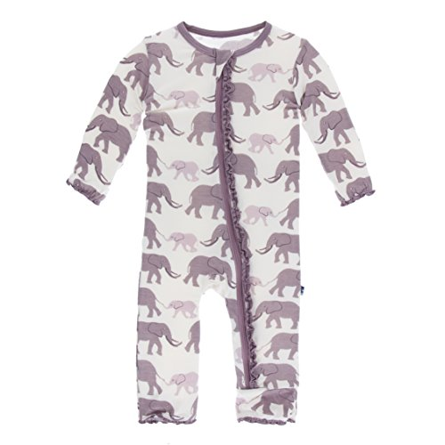 Kickee Pants Little Girls Print Muffin Ruffle Coverall with Zipper - Natural Elephants, 12-18 Months