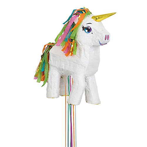 White Unicorn Pinata, Pull String -