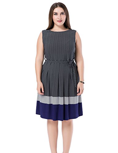 Chicwe Women's Sleeveless Chevron Border Printed Plus Size Dress 18, Black Navy