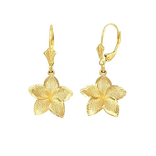 Textured 10k Gold Hawaiian Flower Plumeria Dangle Earrings (Small) - Gold Hawaiian Flower